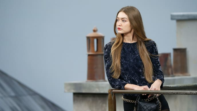 PARIS, FRANCE – OCTOBER 1: Gigi Hadid during the Chanel Womenswear Spring/Summer 2020 show as part of Paris Fashion Week on October 1, 2019 in Paris, France. (Photo by Estrop/Getty Images)