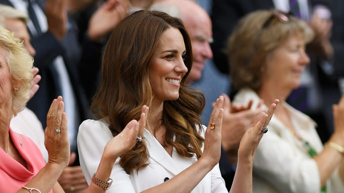 LONDON, ENGLAND - JULY 02: Gill Brook and Catherine, Duchess of Cambridge show their support from the royal box during Day two of The Championships - Wimbledon 2019 at All England Lawn Tennis and Croquet Club on July 02, 2019 in London, England. (Photo by Matthias Hangst/Getty Images)