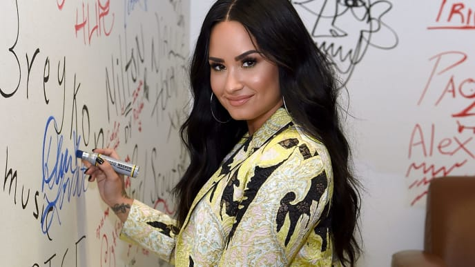 NEW YORK, NY - MARCH 22:  Demi Lovato Visits Music Choice at Music Choice on March 22, 2018 in New York City.  (Photo by Jamie McCarthy/Getty Images)