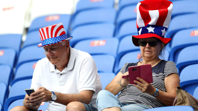 LYON, FRANCE - JULY 02: Fans enjoy the pre match atmosphere prior to the 2019 FIFA Women's World Cup France Semi Final match between England and USA at Stade de Lyon on July 02, 2019 in Lyon, France. (Photo by Elsa/Getty Images)