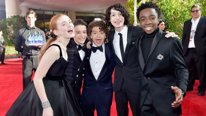 BEVERLY HILLS, CA - JANUARY 07: (L-R) Actors Sadie Sink, Noah Schnapp, Gaten Matarazzo, Finn Wolfhard, and Caleb McLaughlin attend The 75th Annual Golden Globe Awards at The Beverly Hilton Hotel on January 7, 2018 in Beverly Hills, California.  (Photo by Stefanie Keenan/Getty Images for FIJI Water)