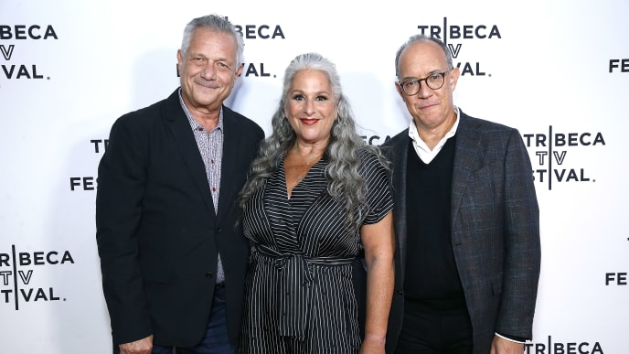 "NEW YORK, NEW YORK - SEPTEMBER 13:  (L-R) Executive producers Kevin Bright, Marta Kauffman and David Crane attend""Friends"" 25th Anniversary during 2019 Tribeca TV Festival at Regal Battery Park Cinemas on September 13, 2019 in New York City. (Photo by John Lamparski/Getty Images for Tribeca TV Festival)"