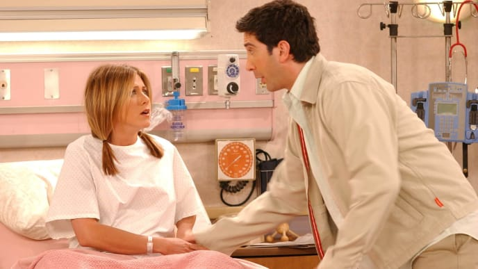 "UNDATED PHOTO:  Actors Jennifer Aniston (L) and David Schwimmer are shown in a scene from the NBC series ""Friends"". The series received 11 Emmy nominations, including outstanding comedy series, by the Academy of Television Arts and Sciences July 18, 2002 in Los Angeles, California.  (Photo by Warner Bros. Television/Getty Images)"