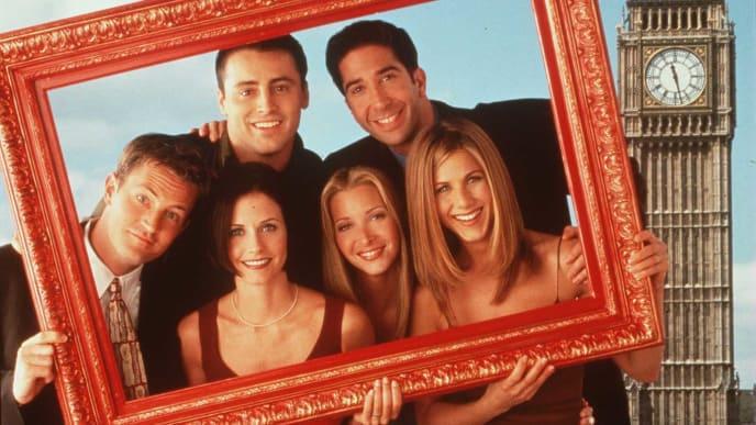 """Friends"" in London. Clockwise from top left: Matt LeBlanc, David Schwimmer, Jennifer Aniston, Lisa Kudrow, Courteney Cox and Matthew Perry."