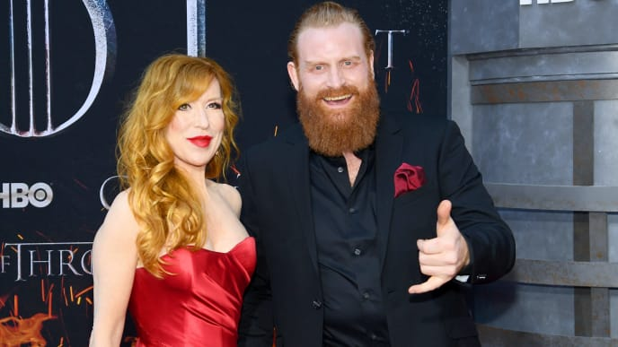 "NEW YORK, NEW YORK - APRIL 03: Gry Molvær Hivju and Kristofer Hivju attend the ""Game Of Thrones"" Season 8 Premiere on April 03, 2019 in New York City. (Photo by Dimitrios Kambouris/Getty Images)"