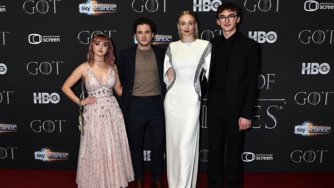 """BELFAST, NORTHERN IRELAND - APRIL 12:   Maisie Williams, Kit Harington, Sophie Turner and Isaac Hempstead Wright attend the """"Game of Thrones"""" Season 8 screening at the Waterfront Hall on April 12, 2019 in Belfast, Northern Ireland. (Photo by Charles McQuillan/Getty Images)"""