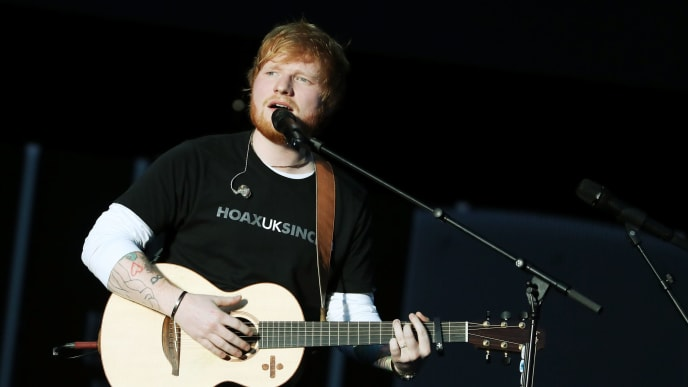 JOHANNESBURG, SOUTH AFRICA - DECEMBER 02:  Ed Sheeran performs during the Global Citizen Festival: Mandela 100 at FNB Stadium on December 2, 2018 in Johannesburg, South Africa.  (Photo by Jemal Countess/Getty Images for Global Citizen Festival: Mandela 100)