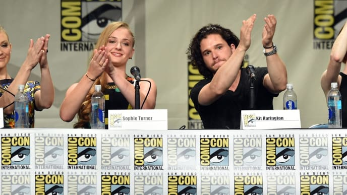 "SAN DIEGO, CA - JULY 25:  (L-R) Actors Natalie Dormer, Sophie Turner, Kit Harington, Rose Leslie and John Bradley attend HBO's ""Game Of Thrones"" panel and Q&A during Comic-Con International 2014 at San Diego Convention Center on July 25, 2014 in San Diego, California.  (Photo by Kevin Winter/Getty Images)"