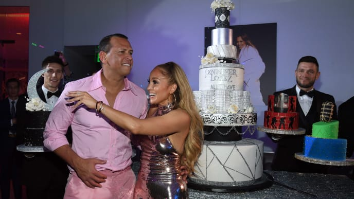 "LAS VEGAS, NV - SEPTEMBER 30:  Alex Rodriguez (L) and Jennifer Lopez attend the after party for the finale of the ""JENNIFER LOPEZ: ALL I HAVE"" residency at MR CHOW at Caesars Palace on September 30, 2018 in Las Vegas, Nevada.  (Photo by Ethan Miller/Getty Images for Caesars Entertainment)"