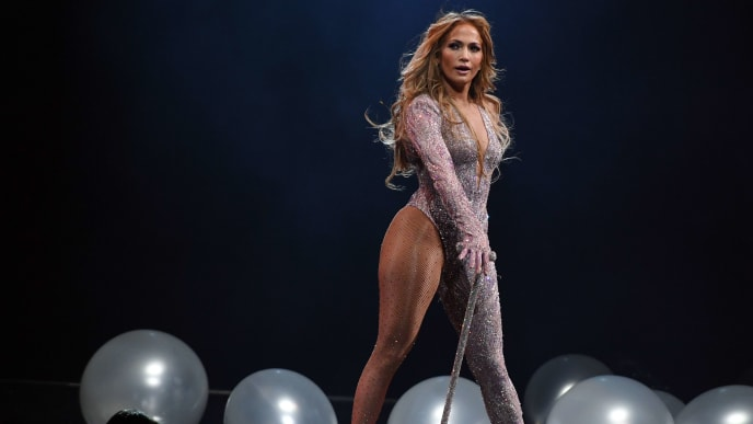 LAS VEGAS, NEVADA - JUNE 15:  Jennifer Lopez performs during a stop of her It's My Party tour at T-Mobile Arena on June 15, 2019 in Las Vegas, Nevada.  (Photo by Ethan Miller/Getty Images for ABA)