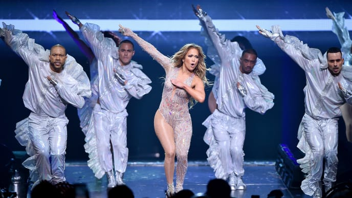 NEW YORK, NEW YORK - JULY 12: Jennifer Lopez performs onstage during the It's My Party Tour at Madison Square Garden on July 12, 2019 in New York City. (Photo by Theo Wargo/Getty Images for ABA)