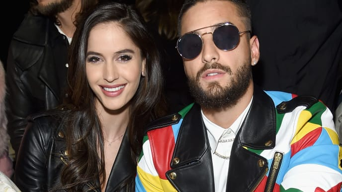 NEW YORK, NY - FEBRUARY 08:  Natalia Barulich and Maluma attend the Jeremy Scott front row during New York Fashion Week: The Shows at Gallery I at Spring Studios on February 8, 2019 in New York City.  (Photo by Jamie McCarthy/Getty Images for NYFW: The Shows)