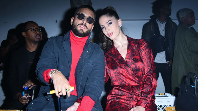 NEW YORK, NEW YORK - FEBRUARY 09: Maluma and Natalia Barulich attend John Elliott in Front Row at February 2019 - New York Fashion Week: The Shows on February 09, 2019 in New York City. (Photo by Yuchen Liao/Getty Images)