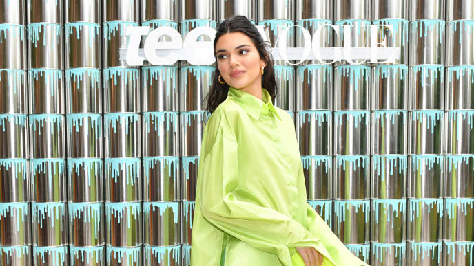 """BROOKLYN, NEW YORK - JUNE 20: Kendall Jenner joins Proactiv and Teen Vogue at """"Paint Positivity: Because Words Matter"""" event at Wythe Hotel on June 20, 2019 in Brooklyn, New York. (Photo by Craig Barritt/Getty Images for Proactiv )"""