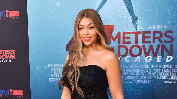 "WESTWOOD, CALIFORNIA - AUGUST 13: Jordyn Woods attends the LA Premiere of Entertainment Studios' ""47 Meters Down Uncaged"" at Regency Village Theatre on August 13, 2019 in Westwood, California. (Photo by Matt Winkelmeyer/Getty Images)"
