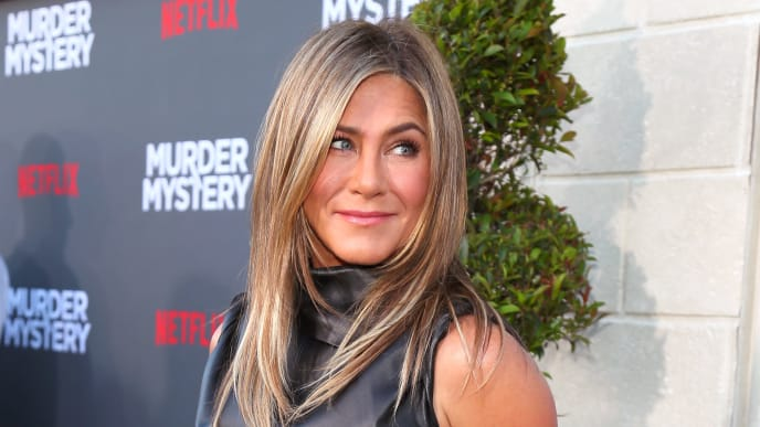 """WESTWOOD, CALIFORNIA - JUNE 10: Jennifer Aniston attends the LA premiere of Netflix's """"Murder Mystery"""" at Regency Village Theatre on June 10, 2019 in Westwood, California. (Photo by Leon Bennett/Getty Images)"""