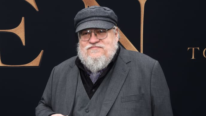 "WESTWOOD, CALIFORNIA - MAY 08: George R. R. Martin arrives at the LA Special Screening of Fox Searchlight Pictures' ""Tolkien"" at the Regency Village Theatre on May 08, 2019 in Westwood, California. (Photo by Amanda Edwards/Getty Images,)"