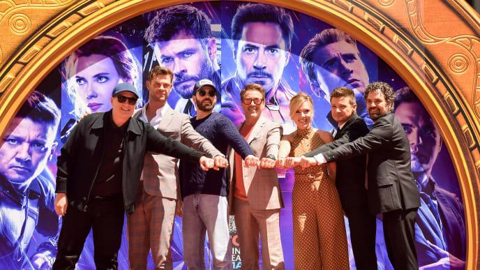 Kevin Feige, Chris Hemsworth, Chris Evans, Robert Downey Jr., Scarlett Johansson, Mark Ruffalo, Jeremy Renner