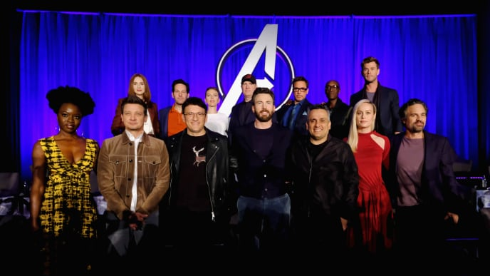 "LOS ANGELES, CA - APRIL 07: (front L-R) Danai Gurira, Jeremy Renner, Director Anthony Russo, Chris Evans, Director Joe Russo, Brie Larson and Mark Ruffalo, (back L-R) Karen Gillan, Paul Rudd, Scarlett Johansson, President of Marvel Studios/Producer Kevin Feige, Robert Downey Jr., Don Cheadle and Chris Hemsworth onstage during Marvel Studios' ""Avengers: Endgame"" Global Junket Press Conference at the InterContinental Los Angeles Downtown on April 7, 2019 in Los Angeles, California.  (Photo by Alberto E. Rodriguez/Getty Images for Disney)"