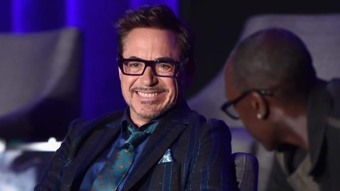"""LOS ANGELES, CA - APRIL 07: (EDITORS NOTE: Retransmission with alternate crop.) Robert Downey Jr. (L) and Don Cheadle speak onstage during Marvel Studios' """"Avengers: Endgame"""" Global Junket Press Conference at the InterContinental Los Angeles Downtown on April 7, 2019 in Los Angeles, California.  (Photo by Alberto E. Rodriguez/Getty Images for Disney)"""