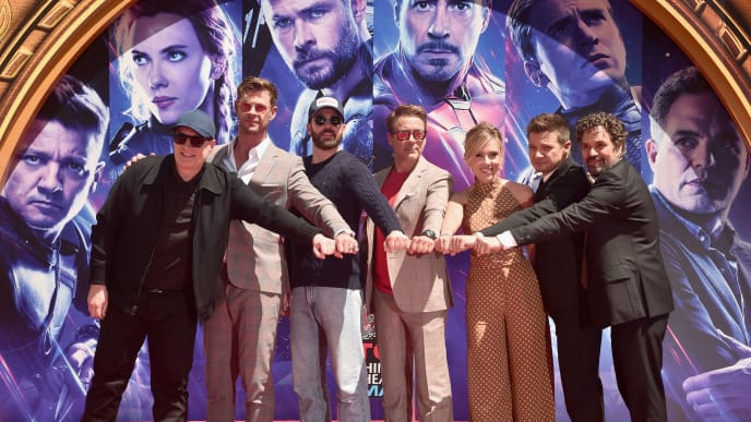 "HOLLYWOOD, CA - APRIL 23:  Marvel Studios' ""Avengers: Endgame"" stars President of Marvel Studios/Producer Kevin Feige, Chris Hemsworth, Chris Evans, Robert Downey Jr., Scarlett Johansson, Jeremy Renner and Mark Ruffalo at the Hand And Footprint Ceremony at the TCL Chinese Theatre on April 23, 2019 in Hollywood, California.  (Photo by Alberto E. Rodriguez/Getty Images for Disney)"