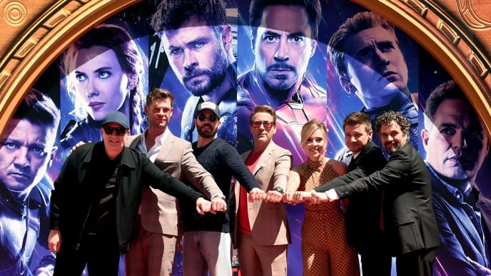 "HOLLYWOOD, CA - APRIL 23: (EDITORS NOTE: Retransmission with alternate crop.) Marvel Studios' ""Avengers: Endgame"" stars President of Marvel Studios/Producer Kevin Feige, Chris Hemsworth, Chris Evans, Robert Downey Jr., Scarlett Johansson, Jeremy Renner and Mark Ruffalo at the Hand And Footprint Ceremony at the TCL Chinese Theatre on April 23, 2019 in Hollywood, California.  (Photo by Alberto E. Rodriguez/Getty Images for Disney)"