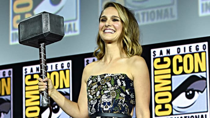 SAN DIEGO, CALIFORNIA - JULY 20: Natalie Portman of Marvel Studios' 'Thor: Love and Thunder' at the San Diego Comic-Con International 2019 Marvel Studios Panel in Hall H on July 20, 2019 in San Diego, California. (Photo by Alberto E. Rodriguez/Getty Images for Disney)
