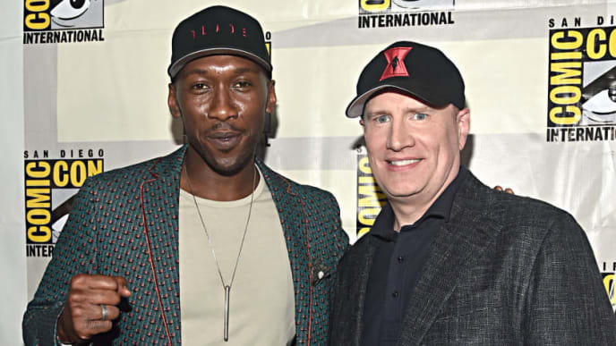 SAN DIEGO, CALIFORNIA - JULY 20: Mahershala Ali and President of Marvel Studios Kevin Feige at the San Diego Comic-Con International 2019 Marvel Studios Panel in Hall H on July 20, 2019 in San Diego, California. (Photo by Alberto E. Rodriguez/Getty Images for Disney)