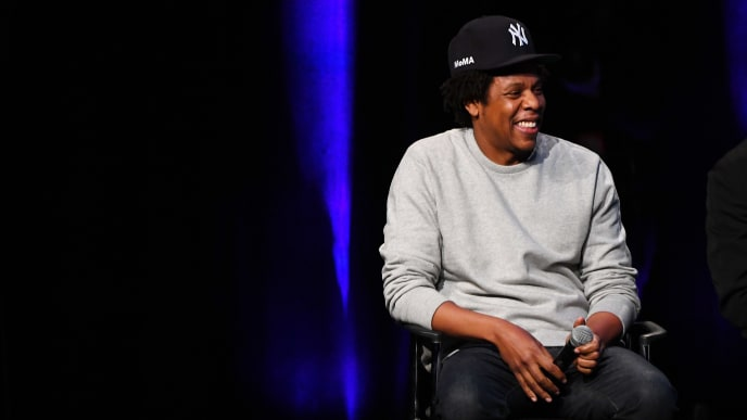 """NEW YORK, NY - JANUARY 23:  Shawn """"Jay-Z"""" Carter speaks onstage during the launch of The Reform Alliance at John Jay College on January 23, 2019 in New York City.  (Photo by Nicholas Hunt/Getty Images for The Reform Alliance)"""
