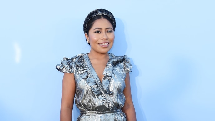 BROOKLYN, NEW YORK - SEPTEMBER 11: Yalitza Aparicio poses backstage during the Michael Kors Collection Spring 2020 Runway Show on September 11, 2019 in Brooklyn City. (Photo by Lawrence Busacca/Getty Images for Michael Kors)