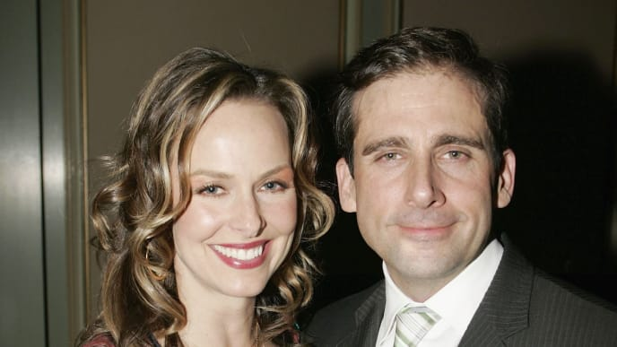 LOS ANGELES - JANUARY 22:  Actress Melora Hardin (L) and actor Steve Carell (R) attend the NBC TCA Party at the Ritz Carlton on January 22, 2006 in Los Angeles, California. (Photo by Michael Buckner/Getty Images)