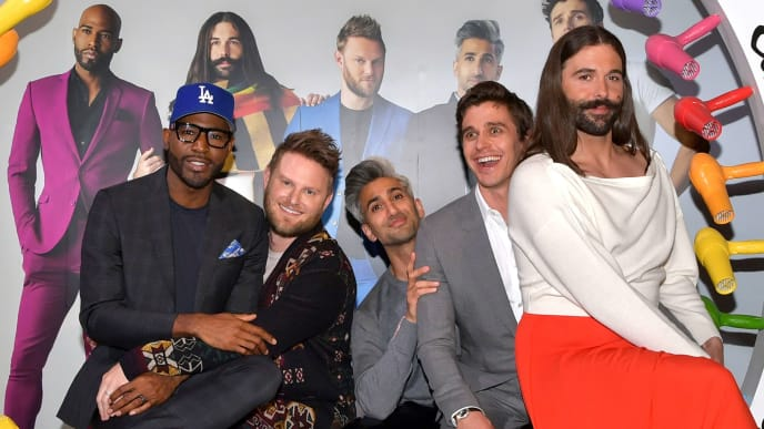 """LOS ANGELES, CALIFORNIA - MAY 16: (L-R) Karamo Brown, Bobby Berk, Tan France, Antoni Porowski, and Jonathan Van Ness attend the Netflix FYSEE """"Queer Eye"""" panel and reception at Raleigh Studios on May 16, 2019 in Los Angeles, California. (Photo by Emma McIntyre/Getty Images for Netflix)"""