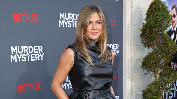 """LOS ANGELES, CALIFORNIA - JUNE 10:  Jennifer Aniston attends the Netflix World Premiere Of """"Murder Mystery"""" at Village Theatre Westwood on June 10, 2019 in Los Angeles, California. (Photo by Rachel Murray/Getty Images for Netflix)"""