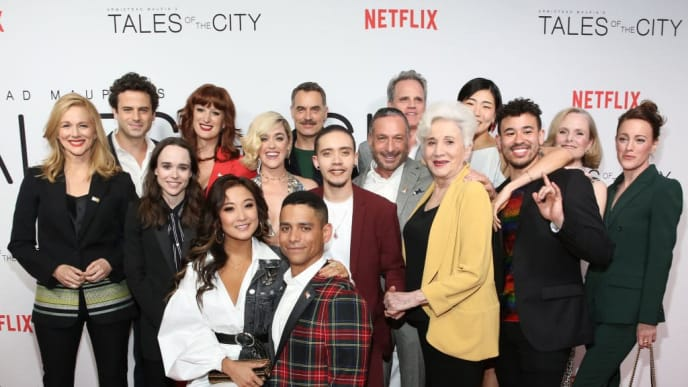 "NEW YORK, NEW YORK - JUNE 03: Cast poses for a photo as they attend Netflix's ""Tales of the City"" New York Premiere at The Metrograph on June 03, 2019 in New York City. (Photo by Monica Schipper/Getty Images for NETFLIX)"