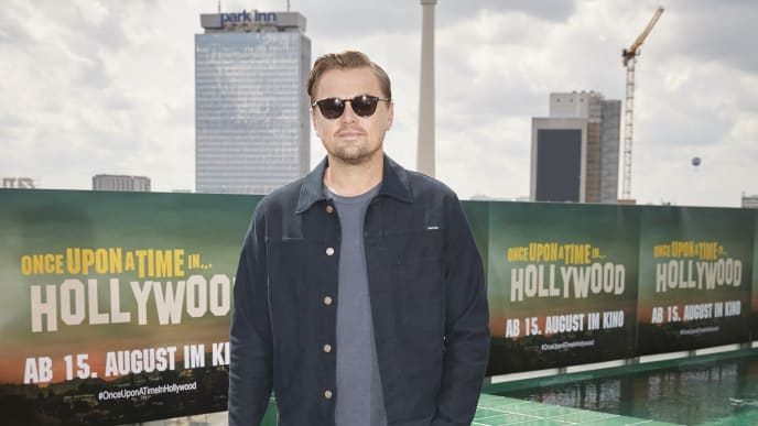 """BERLIN, GERMANY - AUGUST 01: (EDITORS NOTE: This images has been digitally retouched) Leonardo Di Caprio poses during the press junket for """"Once Upon A Time... In Hollywood"""" at Soho House on August 01, 2019 in Berlin, Germany. (Photo by Sebastian Reuter/Getty Images for Sony Pictures)"""