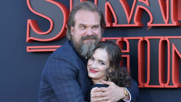 """SANTA MONICA, CALIFORNIA - JUNE 28: David Harbour and Winona Ryder attend the premiere of Netflix's """"Stranger Things"""" Season 3 on June 28, 2019 in Santa Monica, California. (Photo by Amy Sussman/Getty Images)"""
