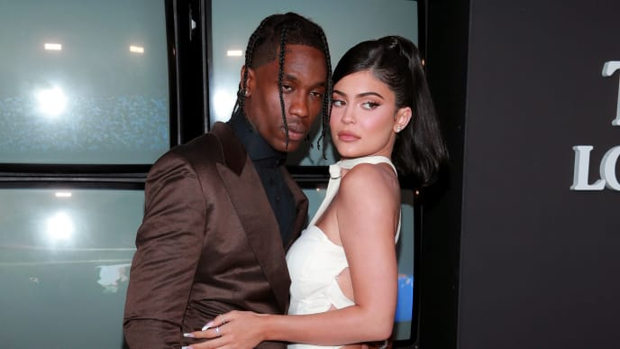 """SANTA MONICA, CALIFORNIA - AUGUST 27: (L-R) Travis Scott and Kylie Jenner attend the premiere of Netflix's """"Travis Scott: Look Mom I Can Fly"""" at Barker Hangar on August 27, 2019 in Santa Monica, California. (Photo by Rich Fury/Getty Images)"""