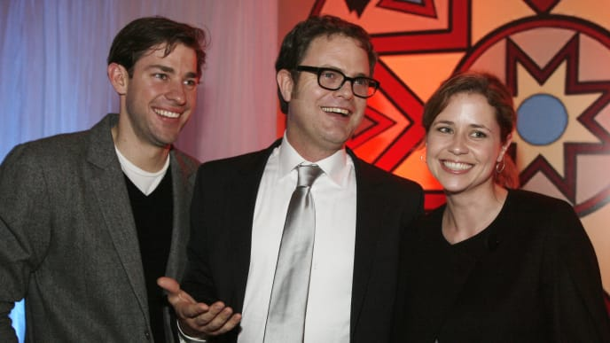 """LOS ANGELES - MARCH 20:  Actors John Krasinski, Rainn Wilson and Jenna Fischer attend the after party of the West Coast premiere of the New Line Cinema film """"The Last Mimzy"""" on March 20, 2007 in Los Angeles, California. (Photo by Vince Bucci/Getty Images)"""