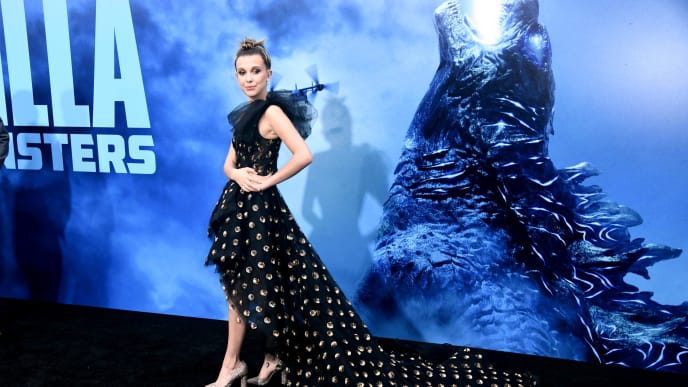 """HOLLYWOOD, CALIFORNIA - MAY 18: Millie Bobby Brown attends Premiere Of Warner Bros. Pictures And Legendary Pictures' """"Godzilla: King Of The Monsters"""" at TCL Chinese Theatre on May 18, 2019 in Hollywood, California. (Photo by Frazer Harrison/Getty Images)"""