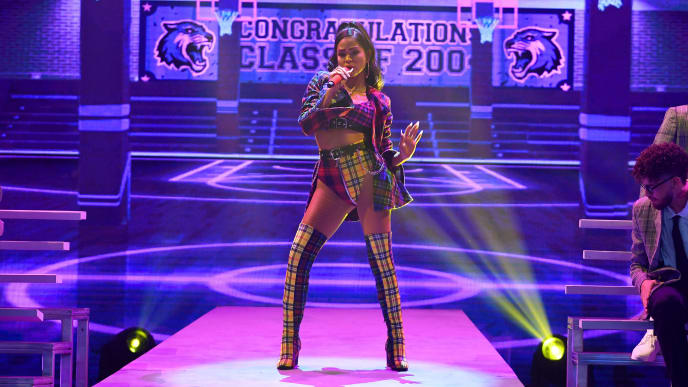 CORAL GABLES, FLORIDA - JULY 18:  Natti Natasha performs on stage during Premios Juventud 2019 at Watsco Center on July 18, 2019 in Coral Gables, Florida. (Photo by Jason Koerner/Getty Images)