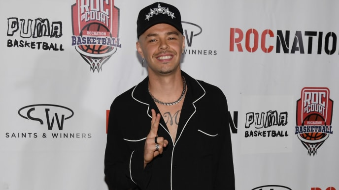 LAS VEGAS, NEVADA - APRIL 24:  Recording artist Jesse Huerta arrives at Roc Nation's Roc da Court all-star basketball game benefiting the Boys & Girls Clubs of Southern Nevada at Tarkanian Court on April 24, 2019 in Las Vegas, Nevada.  (Photo by Ethan Miller/Getty Images)