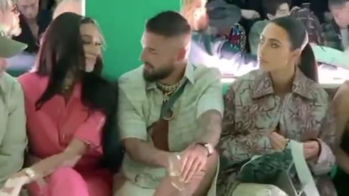 Maluma junto a Kim Kardashian en el desfile de Dior en Miami.