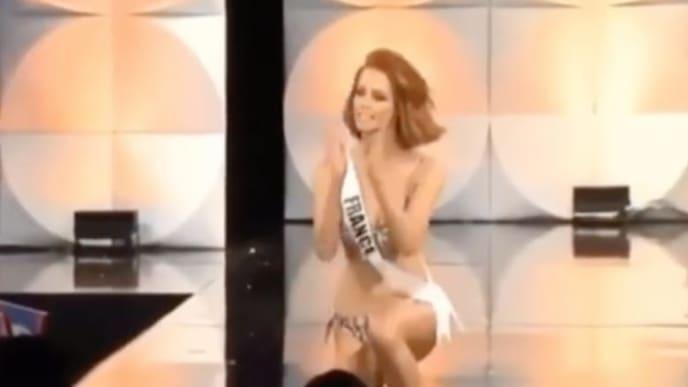 Miss Francia reacciona luego de caerse en desfile del Miss Universo.