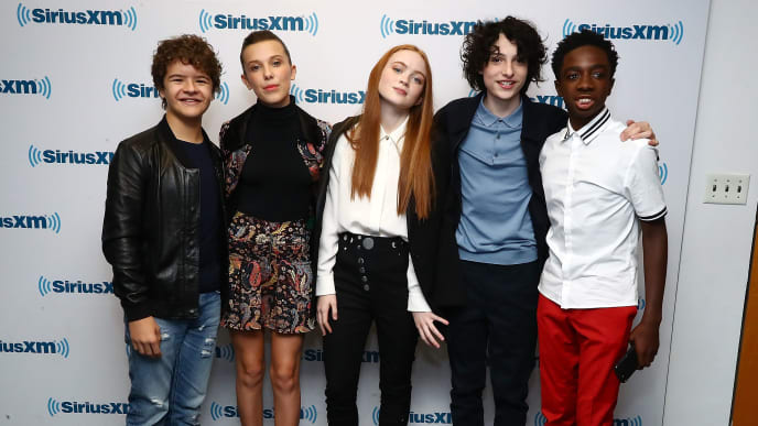 NEW YORK, NY - NOVEMBER 01:  (L-R) Actors Gaten Matarazzo, Millie Bobby Brown, Sadie Sink, Finn Wolfhard and Caleb McLaughlin attend SiriusXM's 'Town Hall' cast of Stranger Things on SiriusXM's Entertainment Weekly Radio on November 1, 2017 in New York City.  (Photo by Astrid Stawiarz/Getty Images for SiriusXM)