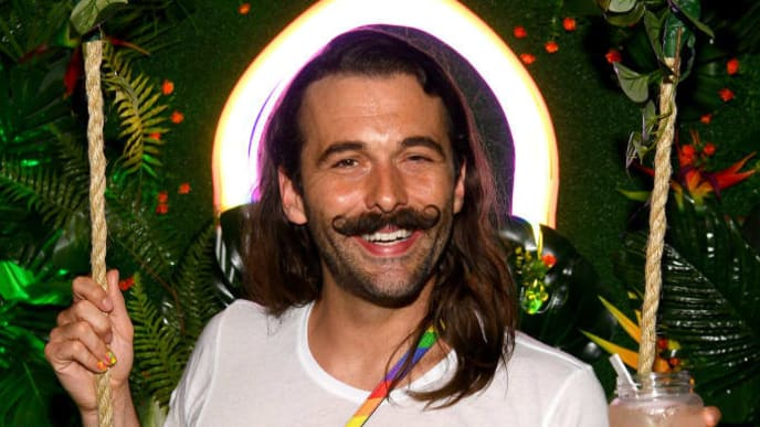 """NEW YORK, NEW YORK - JUNE 27: Jonathan Van Ness and Smirnoff celebrate the LGBTQIA+ community and ongoing fight for equality with """"House of Pride"""" pop-up on June 27, 2019 in New York City. (Photo by Dave Kotinsky/Getty Images for Smirnoff)"""