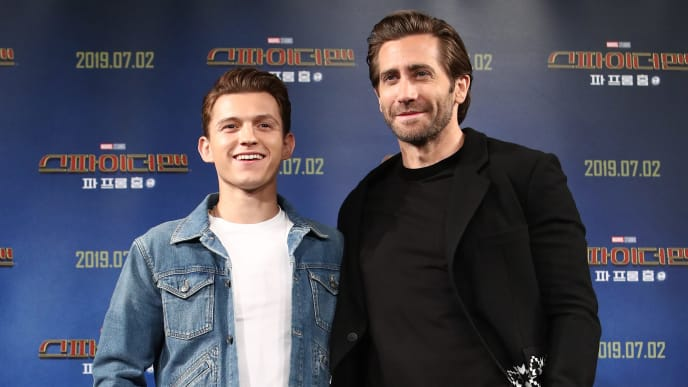 SEOUL, SOUTH KOREA - JULY 01: Actors Tom Holland and Jake Gyllenhaal attend the press conference for 'Spider-Man: Far From Home' South Korea Premiere on July 01, 2019 in Seoul, South Korea. (Photo by Chung Sung-Jun/Getty Images)
