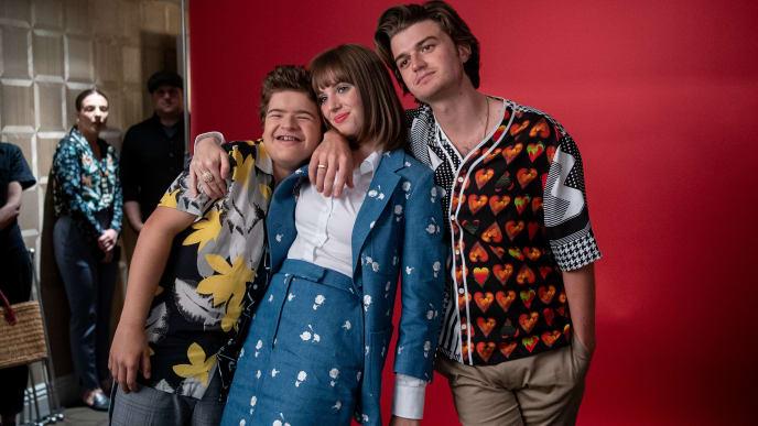 "WEST HOLLYWOOD, CALIFORNIA - JUNE 27: Gaten Matarazzo, Maya Hawke and Joe Keery attend the Season 3 ""Stranger Things"" press junket at The London Hotel on June 27, 2019 in West Hollywood, California. (Photo by Emma McIntyre/Getty Images for Netflix)"