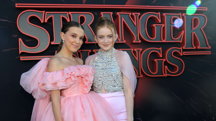 """SANTA MONICA, CALIFORNIA - JUNE 28: Millie Bobby Brown and Sadie Sink attend the """"Stranger Things"""" Season 3 World Premiere on June 28, 2019 in Santa Monica, California. (Photo by Charley Gallay/Getty Images for Netflix)"""