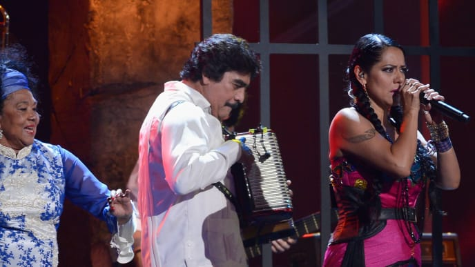 LAS VEGAS, NV - NOVEMBER 15:  (L-R) Singer Toto La Momposina, musician Celso Pina and singer Lila Downs perform onstage during the 13th annual Latin GRAMMY Awards held at the Mandalay Bay Events Center on November 15, 2012 in Las Vegas, Nevada.  (Photo by Kevork Djansezian/Getty Images for Latin Recording Academy)
