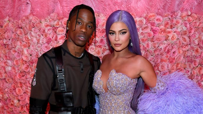 NEW YORK, NEW YORK - MAY 06: (EXCLUSIVE COVERAGE) Travis Scott and Kylie Jenner attends The 2019 Met Gala Celebrating Camp: Notes on Fashion at Metropolitan Museum of Art on May 06, 2019 in New York City. (Photo by Kevin Mazur/MG19/Getty Images for The Met Museum/Vogue)